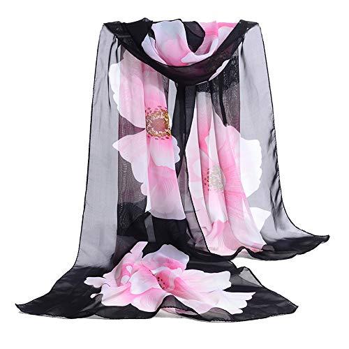 E-Clover Women Soft Floral Print Shawl Chiffon Sheer Scarf (Black&Pink) (Soft Floral Scarf)