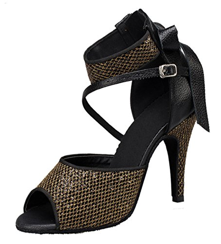 Latin Ankle 6 TDA Heel Open Jazz Stiletto Sandals Strap High Women's M US Special Buckle Black Toe Occasion Samba Bowknot Rumba Zippers 5 Hqvq6