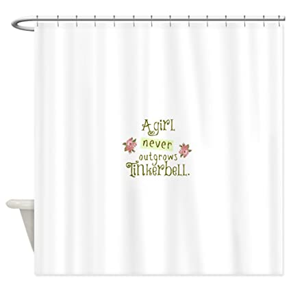 Image Unavailable Not Available For Color CafePress A Girl Never Outgrows Tinkerbell Shower Curtain