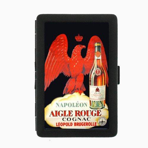 Cognac Napoleon Vintage Poster Double-Sided Black Color Cigarette Case, ID Holder, and wallet D-099 ()