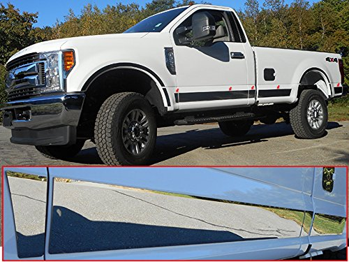 QAA FITS F-250 /& F-350 Super Duty 2017-2019 Ford 10 Pc: SS Rocker Panel Body Trim, 4.5 Wide - Lower: Bottom of The Door UP to The specified Width, 2-Door, Reg Cab, Short Bed, NO Flares TH57321