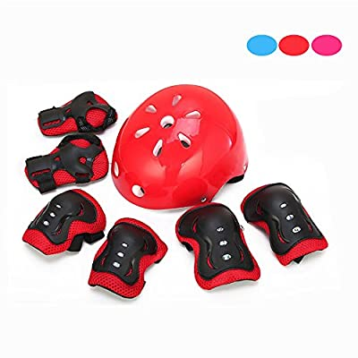 Kid's Knee Pads, Skque® 7 Pcs Elbow, Knee, Wrist and Helmet Sports Pad Set for Children, Size Medium, Red from Skque