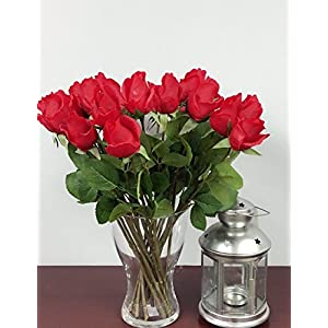 "Angel Isabella 1 Dozen (12pc) of Real Touch Quality Artificial Rose Bud - 16"" Long (Red) 92"