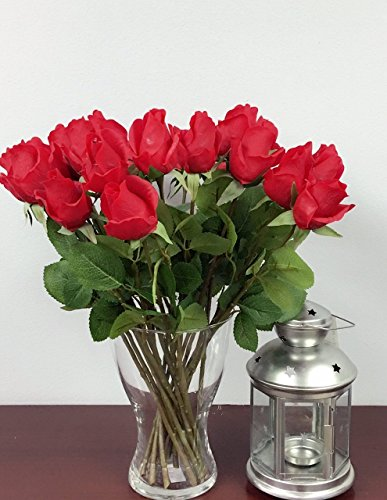 1 Dozen (12pc) of Real Touch Quality Artificial Rose Bud - 16