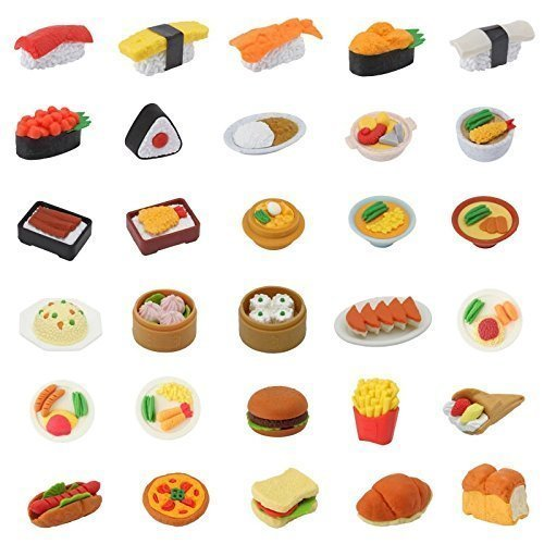 Japanese Iwako Eraser 30 Pieces of Bakery, Japanese & Chinese Food Erasers Assortment ()
