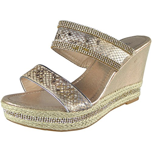 New Ladies Diamante Espadrilles High Wedge Heel Party Sandals Size 3-8 Champagne GsTjGs