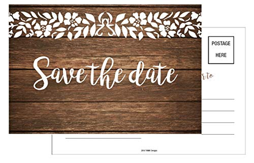 Save The Date Cards 50 4x6 Rustic Country Wood White Lace Theme for Guests at Wedding, Engagement, Anniversary, Baby Shower, Birthday Party, Bridal, Weddings Save The Dates Postcard Invitations.
