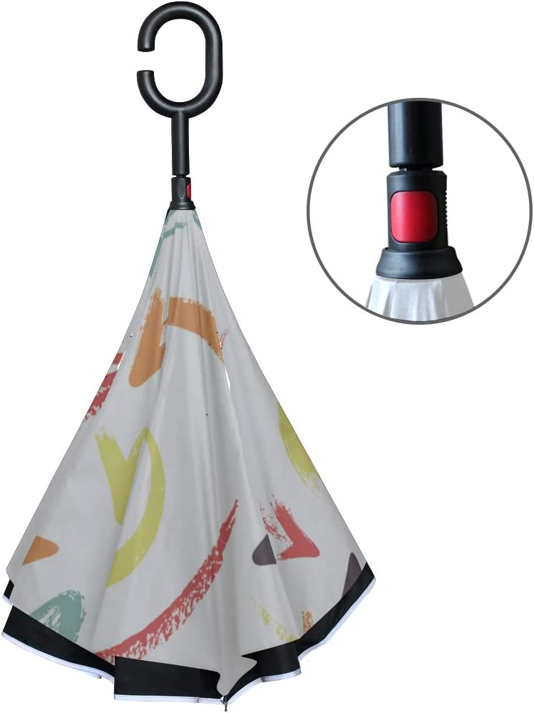 Double Layer Inverted Inverted Umbrella Is Light And Sturdy Colorful Arrows Reverse Umbrella And Windproof Umbrella Edge Night Reflection