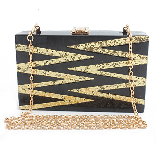 Yxlong New Bags Evening Bag Sequins Glitter Acrylic Bag Evening Bag Small Party, Pink Black