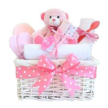 Angel baby girl hamper gift baskets new baby girl gifts set for angel baby girl hamper gift baskets new baby girl gifts set for baby shower or negle Gallery