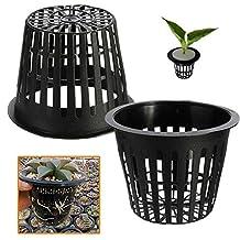 Bazaar 10pcs Black Plastic Hydroponic Planting Mesh Net Pot Baskets Garden Plant Grow Cup