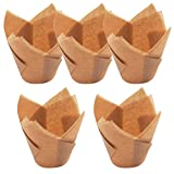 Lesirit Standard Sized Colorful Tulip Shaped Cupcake and Muffin Paper Baking Cups (500, Gold)