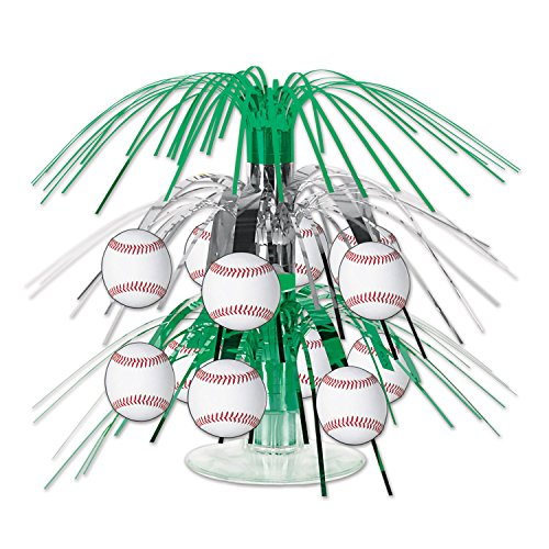 Beistle Baseball Cascade Centerpiece, 71/2-Inch, Green/Silver/White/Red (2-Pack) by Beistle