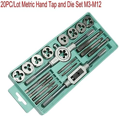 Lheng 6Pcs HSS Metric Tap and Die Set M6 M7 M8 M10 M12 T-Handle Wrench Tackle Hand Tool Set
