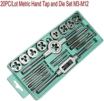 M12 With Wrenches 20pc Carbon Steel Tap /& Die Metric Thread Cutter M3