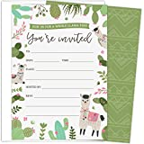 Koko Paper Co. A Whole Llama Fun Party Invitations. Set of 25 Fill-in Style Invites and White Envelopes Featuring Llamas, Colorful Cactus and Floral Accents. Perfect for Birthdays or Any Events.