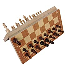 Magnetic International Chess Set, Boliduo Folding Wooden International Chess Board with Magnetic Crafted Pieces