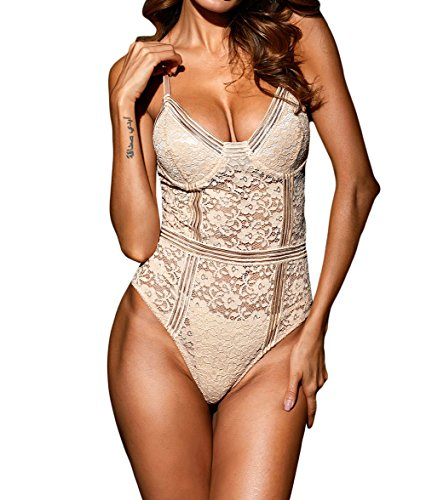 Acelitt Womens Sexy Floral Lace Bustier Bodysuit Shapewear Lingerie Nude Large
