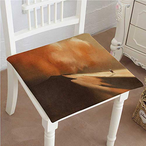 Shadow Storm Deluxe (Dining Chair Pad Cushion House Decor Shadow Man Walking Through Sand Storm in Desert Hiking Wind Hot Fashions Indoor/Outdoor Bistro Chair Cushion 18