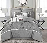 Chic Home CS2764-AN Ashville 16 Piece Bed in A Bag Comforter Set, Silver, Queen