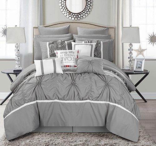 Chic Home CS2764-AN Ashville 16 Piece Bed in A Bag Comforter Set, Silver, Queen