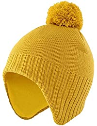 Home Prefer Kids Toddlers Winter Hat with Earflaps Skull Beanie Fleece Lined Knitted Hat for Boys Girls Yellow M