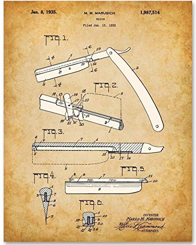 Barber's Razor - 11x14 Unframed Patent Print - Makes a Great Gift Under $15 for Barbers and Barber Shop Decor ()