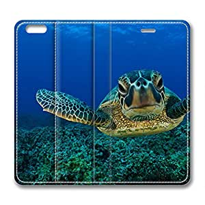 iPhone 6 Plus Case, Fashion Protective PU Leather Flip Case [Stand Feature] Cover for New Apple iPhone 6(5.5 inch) Plus Deep Sea Turtles by mcsharks