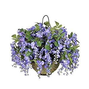 House of Silk Flowers Artificial Dark Violet/Blue Wisteria Hanging Basket