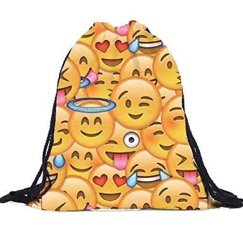 Kikisale 3D Printing Smiling Face Soft Casual Daypacks Emoji School Book Bags (Smiling Face Printing)