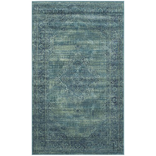 Safavieh Vintage Premium Collection VTG112-2220 Transitional Oriental Turquoise and Multi Distressed Silky Viscose Area Rug (2' x 3')