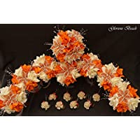 ORANGE AND CREAM/ IVORY BEADED Flower Lily Bouquet 16 piece package with boutonnieres ~ Wedding / Quinceañera