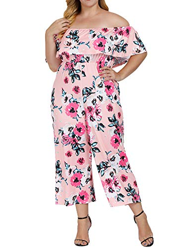 Allegrace Women's Plus Size Floral Print Off Shoulder Jumpsuit Strapless Ruffle Long Rompers Pink 1X