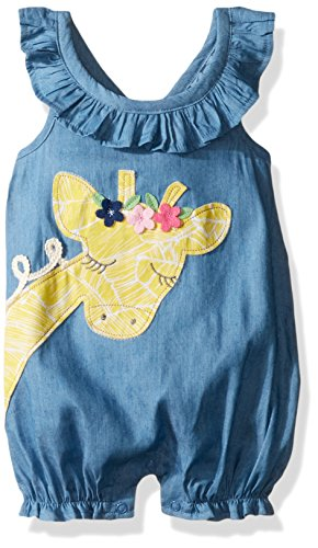 Mud Pie Baby Girls' Bubble Romper, Giraffe, 12-18 (Blue Giraffe Clothes)
