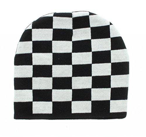 Black & White Checkered Embroidered Beanie