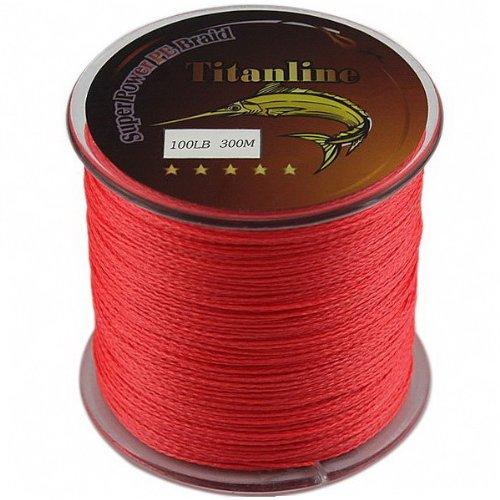 Titanline Super High Grade Fiber PE Briad Braided Fishing Line Red 100LB 300M Meters For Sale