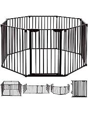 Inspirer Studio 5,6,8 Panel Heavy Duty Metal Gate Pet Fence Safe Playpen Barrier (BLACK, 8 Panel)