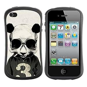Hybrid Anti-Shock Bumper Case for Apple iPhone 4 4S / Smoking Panda Hoodie