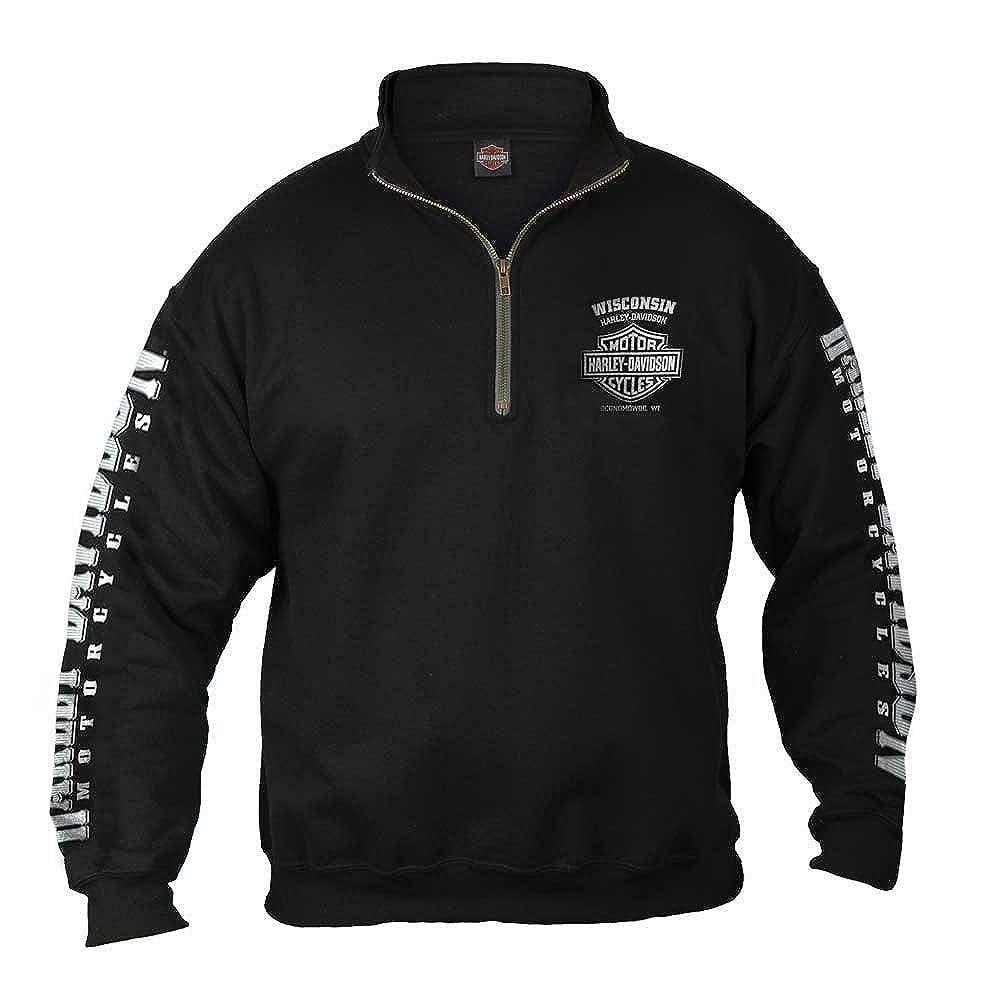 Harley-Davidson Men's Lightning Crest 1/4 Zip Cadet Pullover Sweatshirt, Black Bravado 30293887
