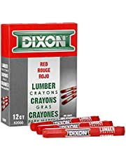 """Dixon 52000 Lumber Marking Crayons, Red, 4-1/2 x 1/2"""" Hex, Pack of 12"""