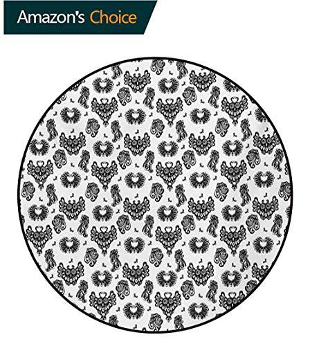 (RUGSMAT Gothic Modern Washable Round Bath Mat,Victorian Floral Motifs and Artistic Owl Figures Classical Vintage Flourishes Non-Slip Bathroom Soft Floor Mat Home Decor,Round-24 Inch)