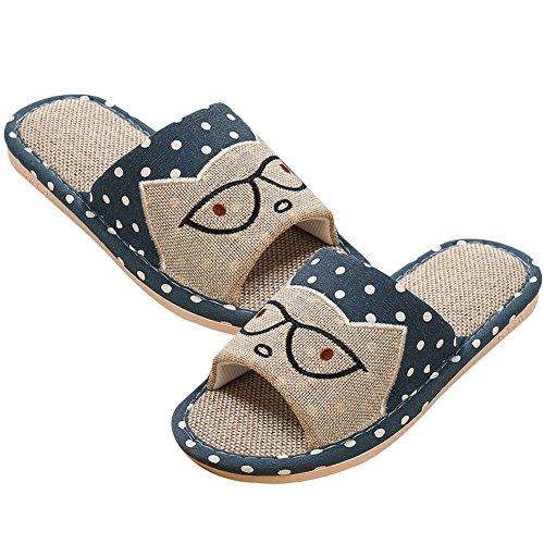 Pantofole Da Donna In Lino Rosa Canapa Antiscivolo Da Uomo Roseummer Blu