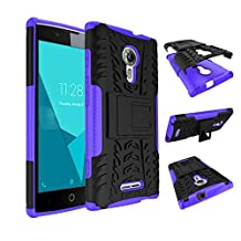 Qiaogle Phone Case - Shock Proof TPU + PC Hybrid Armor Stents Case Cover for Alcatel One Touch Flash 2 (5.0 inch) - HH12 / Black & Purple