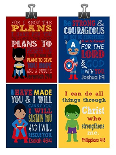 African American Christian Superhero Nursery Decor Art Print Set of 4 -Batman, Captain America, Superman and Hulk - Multiple Sizes