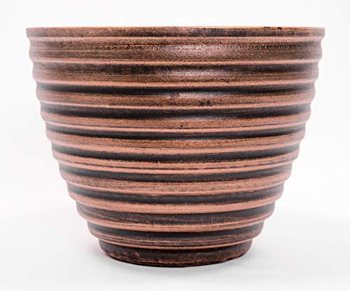 Honey Pot Grooved Circle Pattern Decorative Plastic Planter 10WX8H inches for Indoor, Outdoor, Nursery, Garden, Patio, Office, Home Decor Use. Long Lasting, Reusable Light Weight (Grooved, Copper)