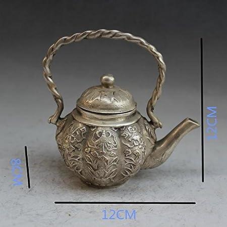 Tetera de cobre artesanía Bronce galvanoplastia níquel casa de antigüedades creatividad decoración clásico Ocho Inmortales tesoro Pot: Amazon.es: Hogar
