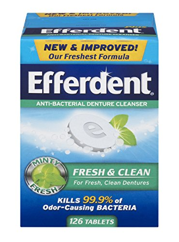 Tablets Efferdent Cleanser Denture Plus (Efferdent Plus Mint Anti-Bacterial Denture Cleanser Tablets | 126 Count | Packaging May Vary)