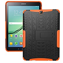 DWay Tablet Case Samsung Tab S2 9.7 T810 Hybrid Armor Design with Stand Feature Detachable Dual Layer Protective Shell Hard Back Case Cover for Samsung Galaxy Tab S2 9.7inches Tablet T810 (Orange)