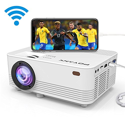 POYANK 2400Lux [2018 Upgraded] Mini Projector- 50,000 Hours LED Projector, Compatible with HDMI/VGA/AV/USB/SD/PS4/XBOX/TV Box/Roku/Fire TV Stick/Chromecast/Smartphone/Laptop/DVD (WiFi Model)