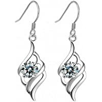 Wakerda Women's Crystal Angel Ring Earrings Artificial Diamond Stud Earrings Studs Jewellery For Ladies Girls,Ideal Valentine's Gifts